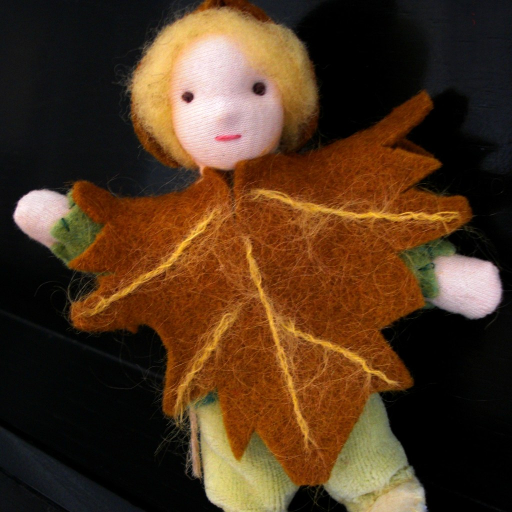 130920 square. Maple Leaf child for Waldorf Fall Seasons Table waving