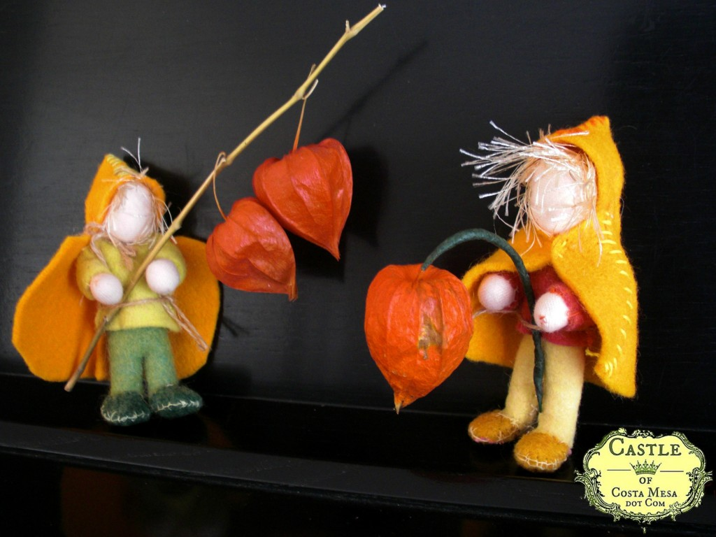 131020 A pair of Chinese Lantern Plant Children for Miss Brooke's First Grade class nature table with logo