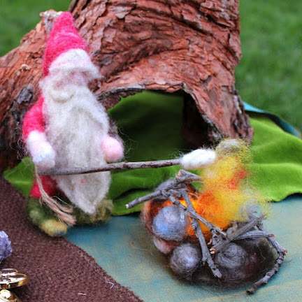 Grumpy Red Gnome square. Needle Felted dwarf roasting marshmellows in an open fire pit. Waldorf Fall Autumn Seasons Nature Table Doll. Craft Tutorials on CastleofCostaMesa.com
