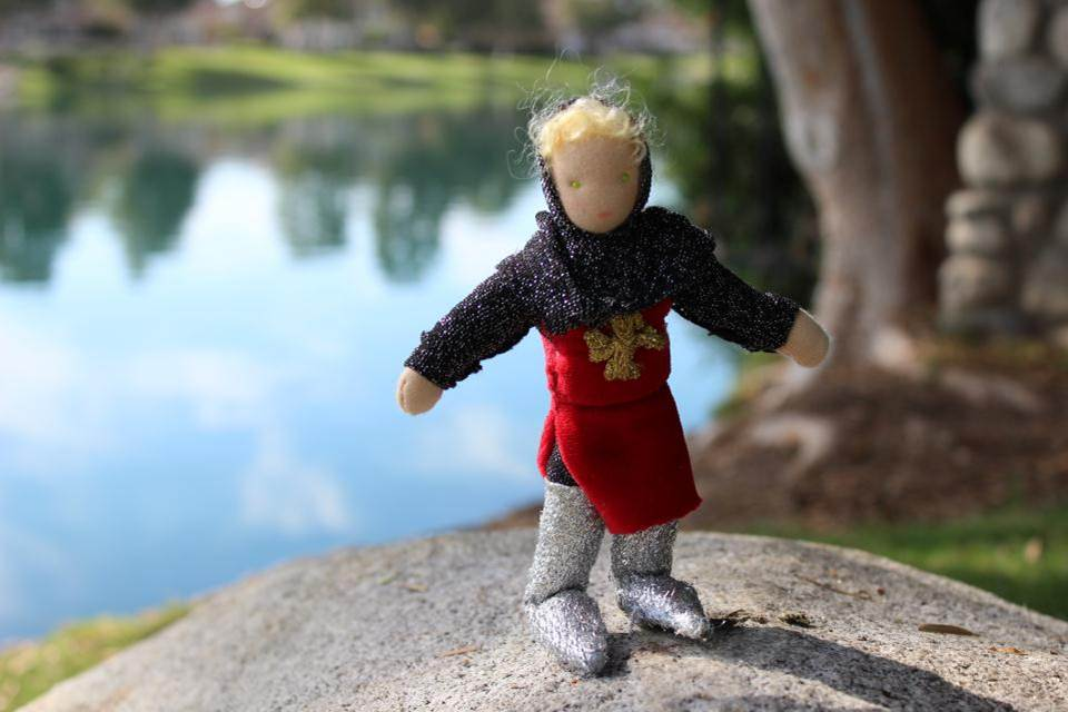 Parzival's dad, Gahmuret and his wanderlust. Handmade Waldorf fairy tale puppet show miniature medieval dolls by CastleofCostaMesa