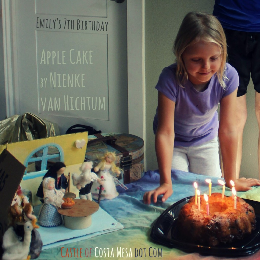 130712 Emily smiling over her birthday apple cake baked by daddy. square cropped with title