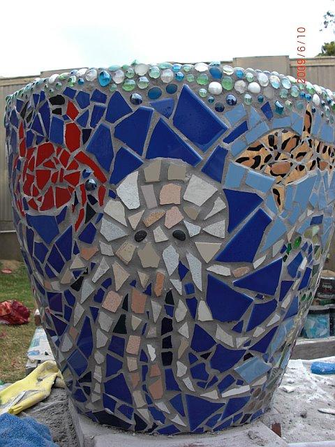 Octopus under the sea mosaic planter. Waldorf School of Orange county. Wednesday morning craft group. Company of Angels. Mosaic with Rachel. CastleofCostaMesa.Com