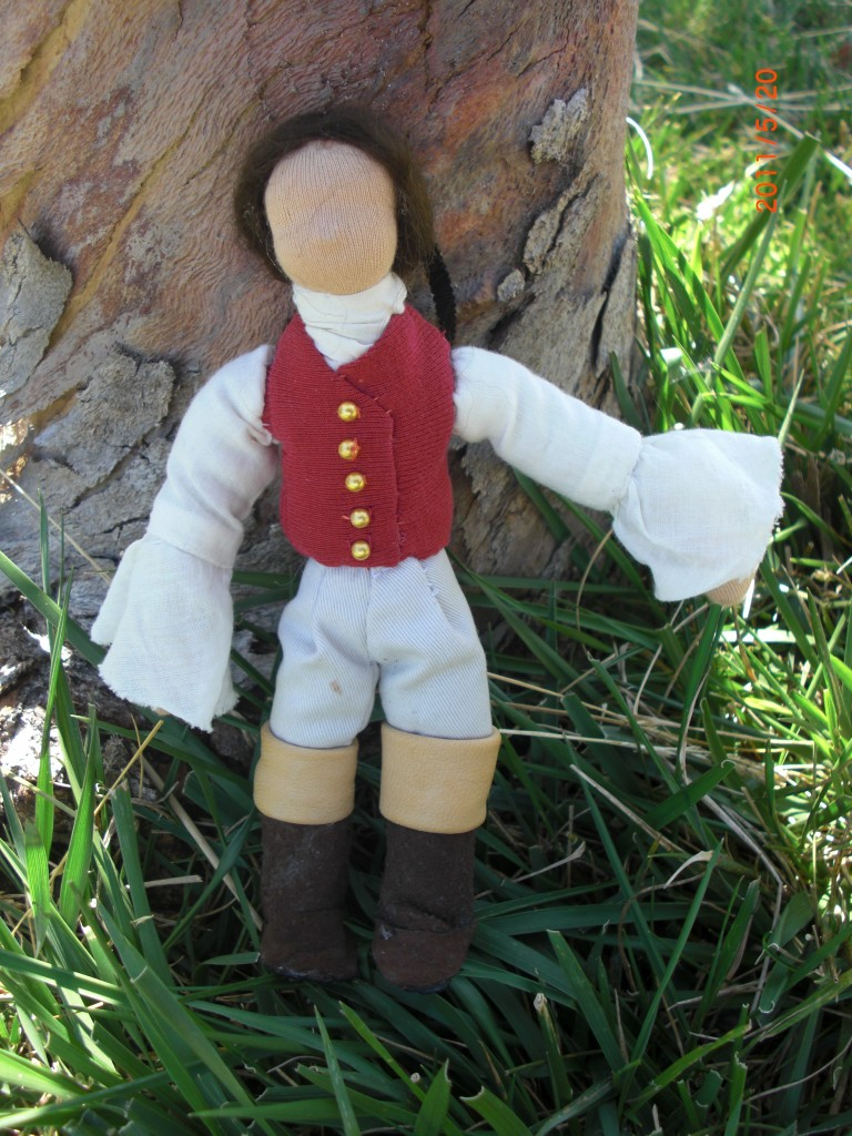Heathcliff doll under a tree. Shameless heart throbs of history and literature. Emily Brontë. Handmade Waldorf Romantic dashing men doll Fairy Tale Puppet Theater miniature by CastleofCostaMesa.Com