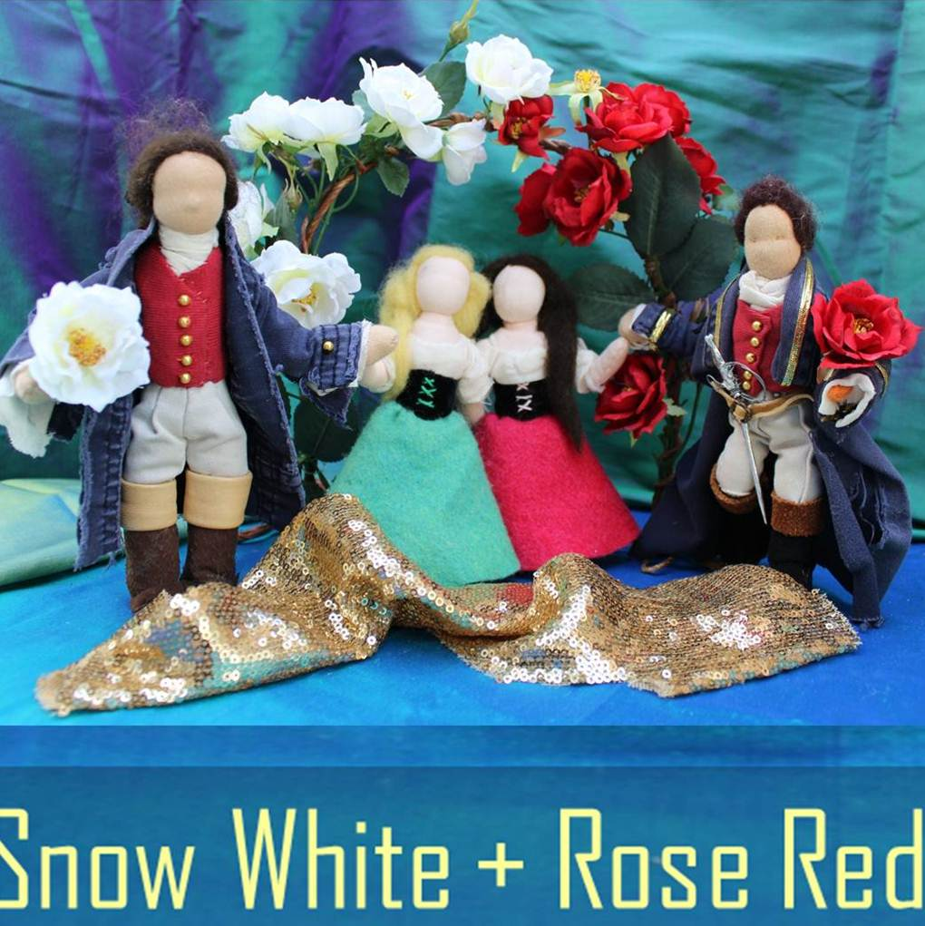 Square Snow White and Rose Red. Handmade Homespun Fairy Tale Puppet Theater. Waldorf. CastleofCostaMesa.Com