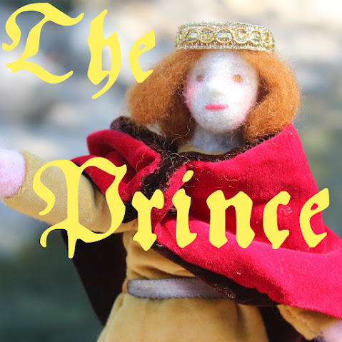 The Prince. square. Unique Reversible Pauper Prince doll.  Handmade Fairy Tale Theatrical Needle felted hand stitching Dolls giveaways. CastleofCostaMesa.Com.