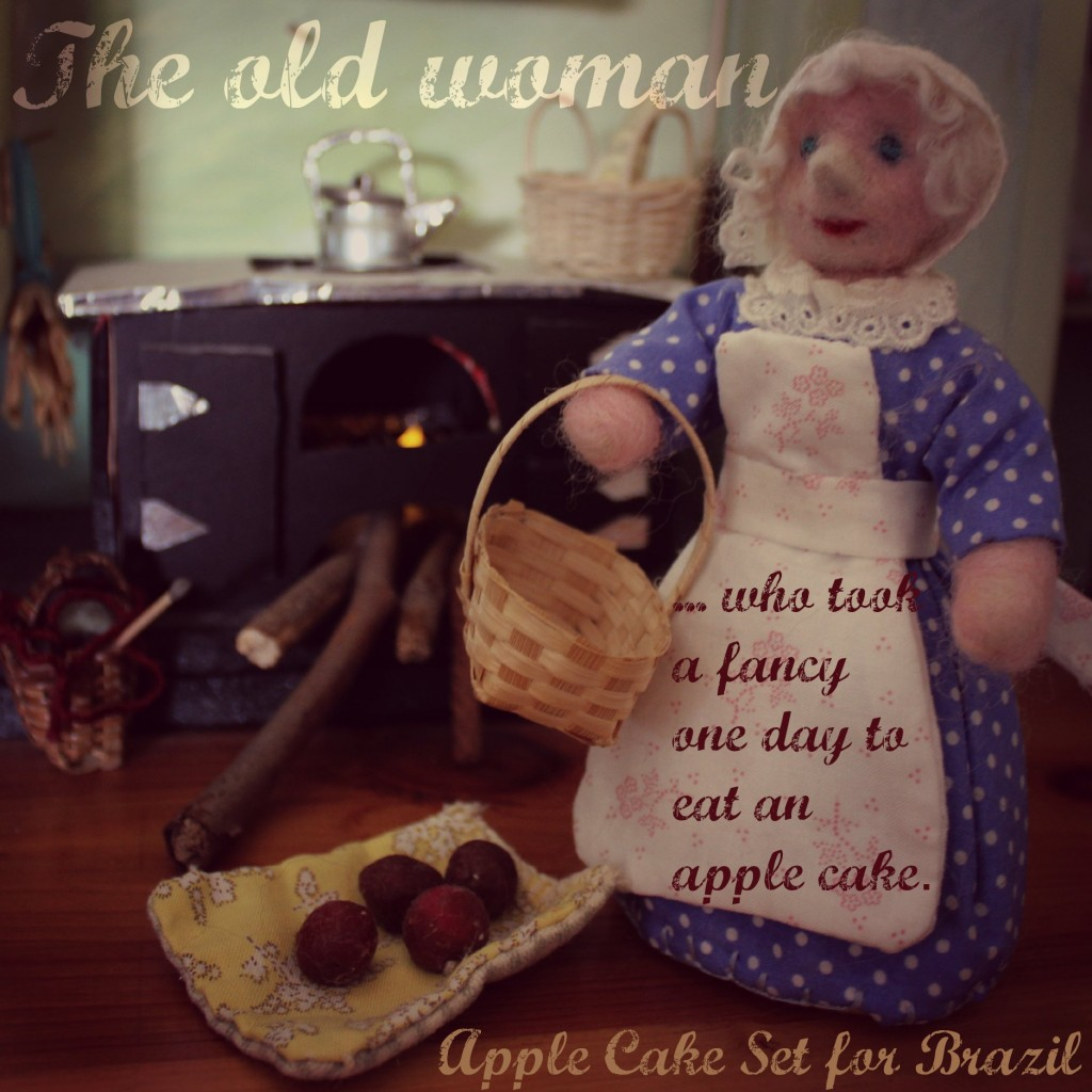 square. The Old Woman who took a fancy one day to eat an apple cake. Apple Cake Table Top Puppet Dolls Set for Brazil