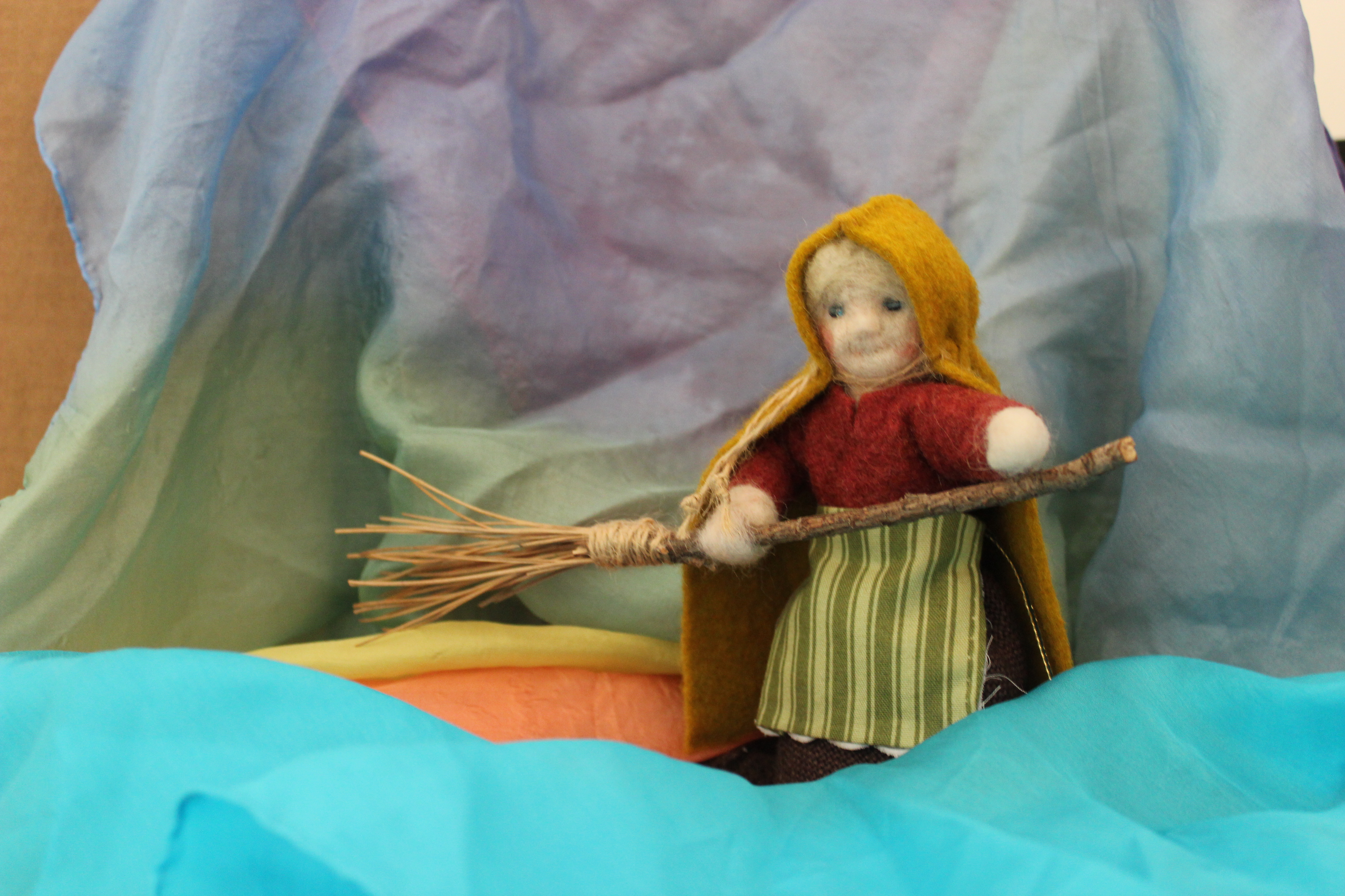 120612 Mrs Thaw in winter. Handmade Waldorf Winter Seasons Table Doll. Elsa Beskow Ollie's Ski Trip. CastleofCostaMesa.Com