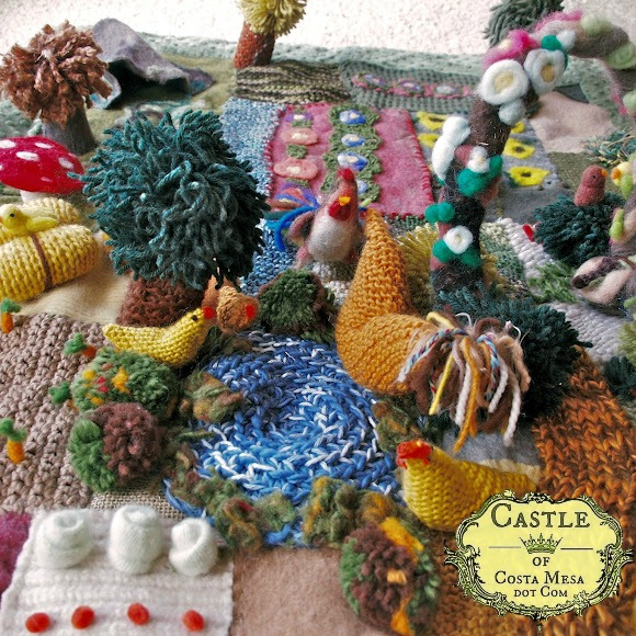 2012 Spring WSOC Craft Group Fundraiser group project knitted farmyard garden playscape blanket square cropped.