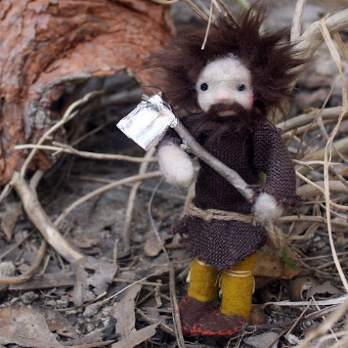 woodcutter square. Medieval woodcutter doll. Handmade needle felted handstitched fairy tale miniature dolls. CastleofCostaMesa.Com