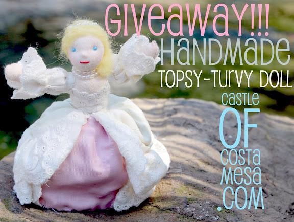 Giveaway !!!Handmade traditional topsy turvy fairy tale Cinderella waldorf doll. CastleofCostaMesa.Com