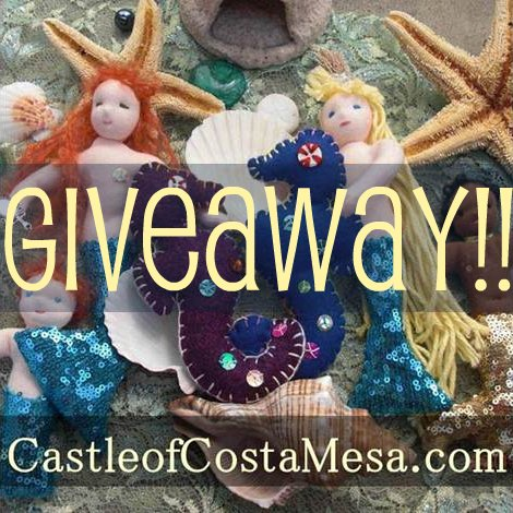 Giveaway. Button. Handmade handstitched etsy natural traditional unique topsy turvy fairy tale puppet theater Cinderella waldorf doll. CastleofCostaMesa.Com