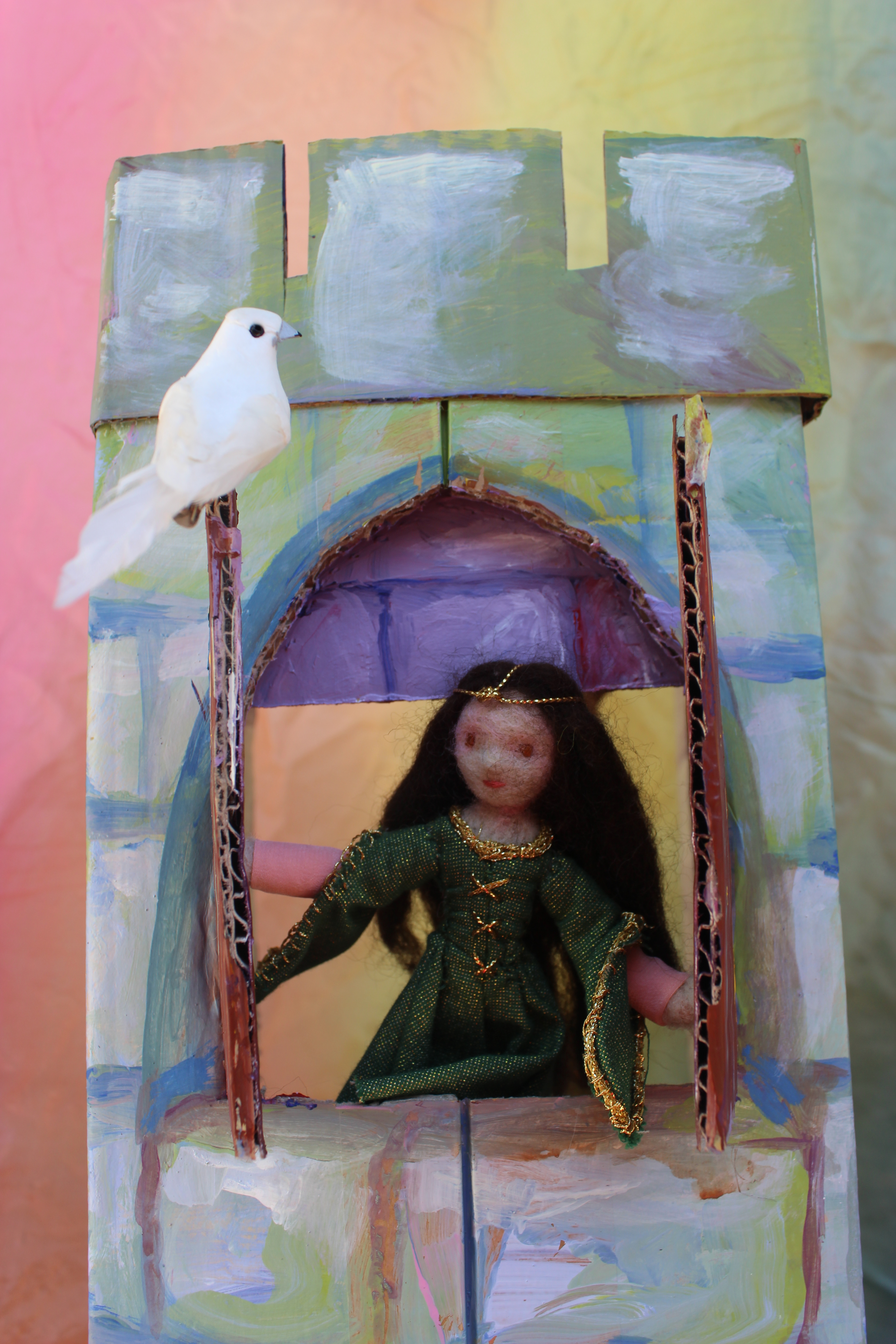 dove on Princess Emerald's tower window. Needle-felted and handstitched Waldorf Table Top Fairy Tale and Season Nature Table historical medieval nostalgic miniature doll house doll handmade by CastleofCostaMesa.Com