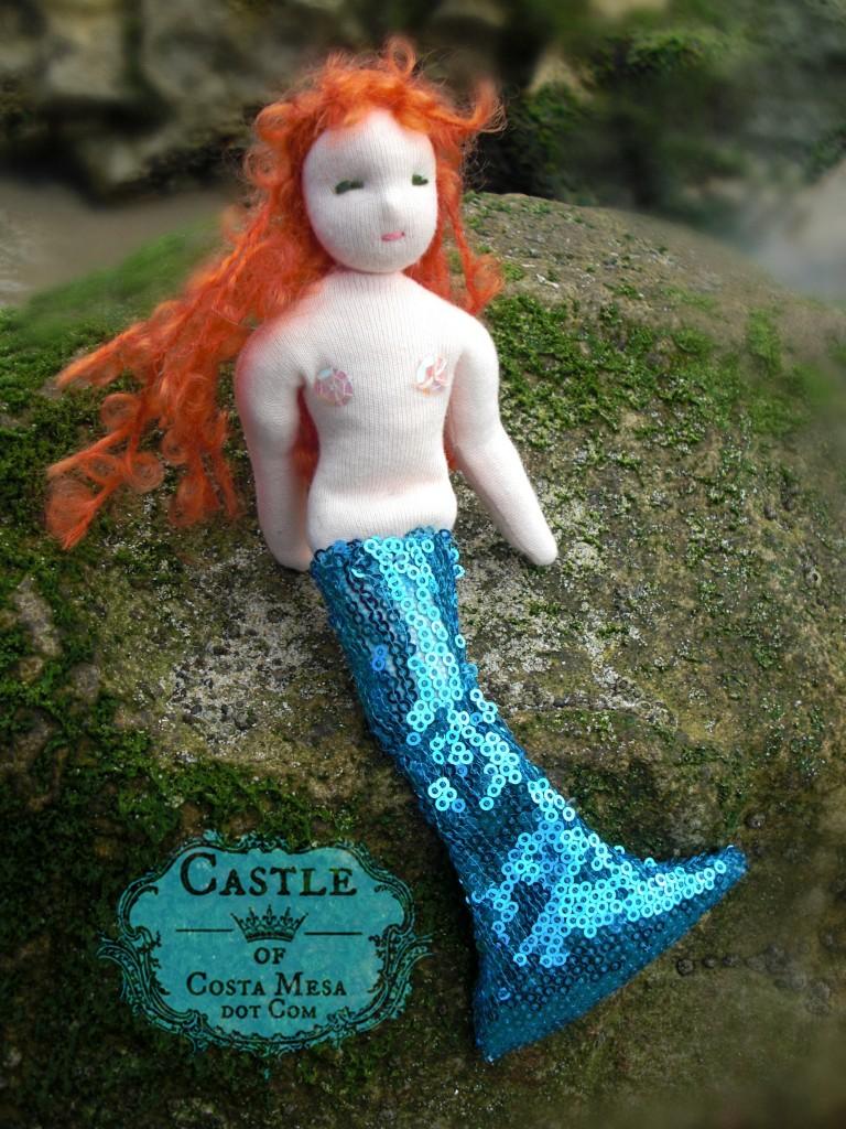 110422 Handmade Waldorf doll Mermaid Mondine sitting on a sea moss covered rock 2