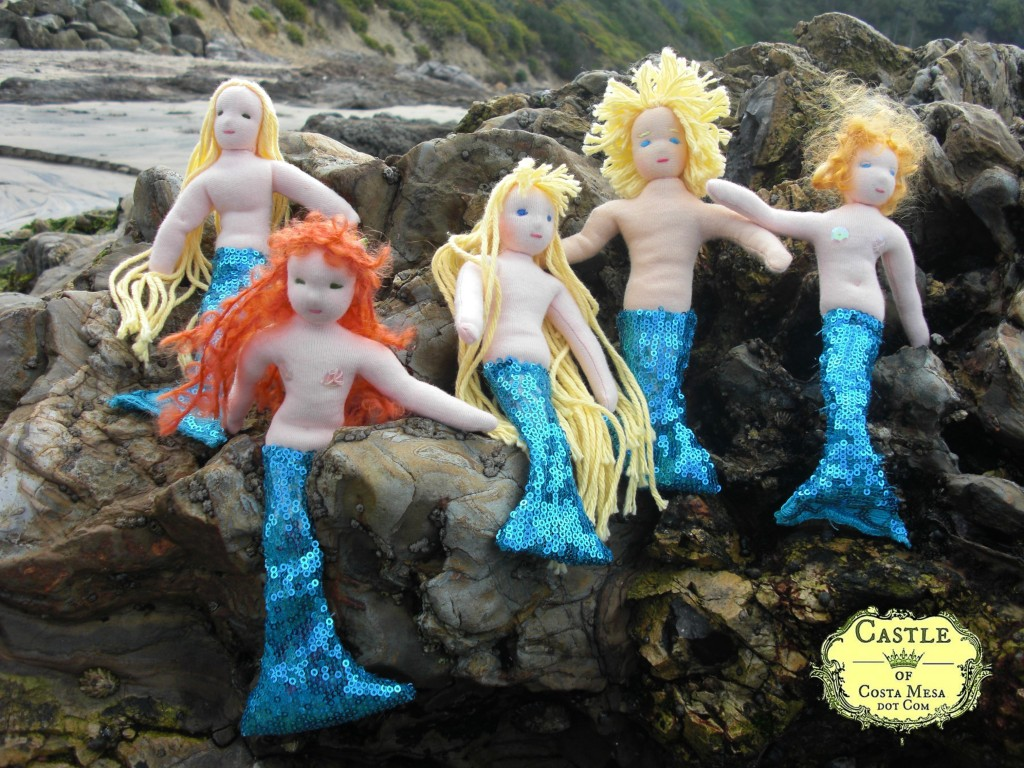 110422 Handmade waldorf mermaids and mermen merfolk dolls group photo
