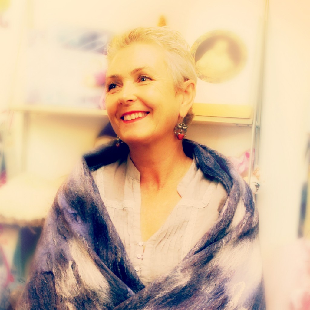 130116 Rachel modeling handmade Artfelt Scarf in the Company of Angels Store. square