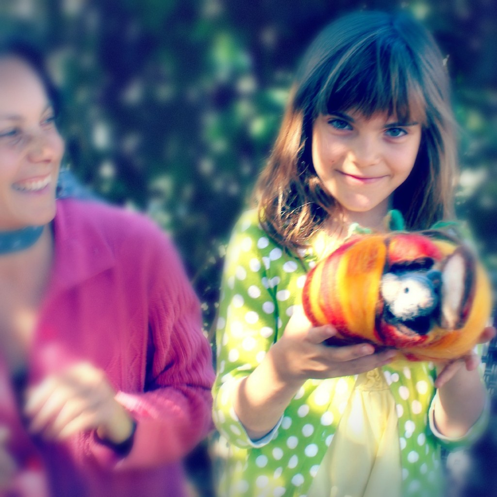 131015 square cropped. Hurray! Alena and Anicka completed their felted mouse in a pumpkin craft project