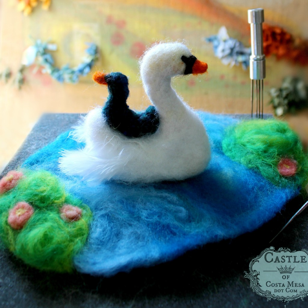 140211 Lisa Marris swan and baby cygnet by hooked rug. square cropped