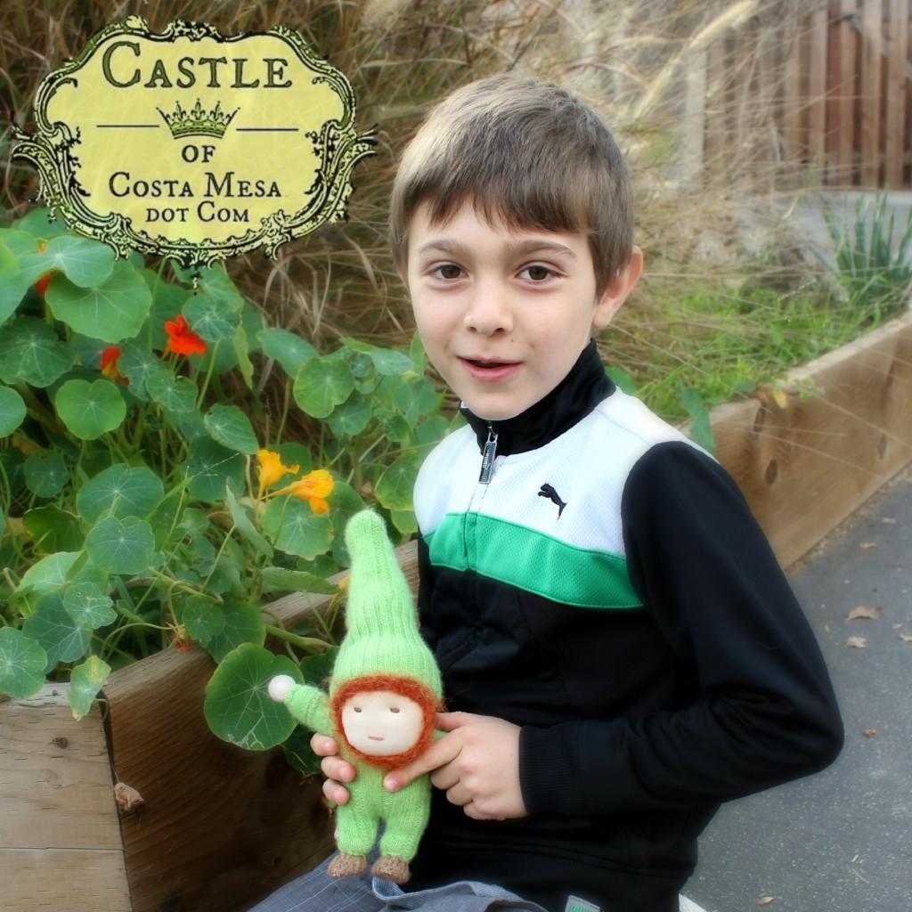 140226 Sonia's kindergartener with his mommy handmade gnome, Gnomer square cropped