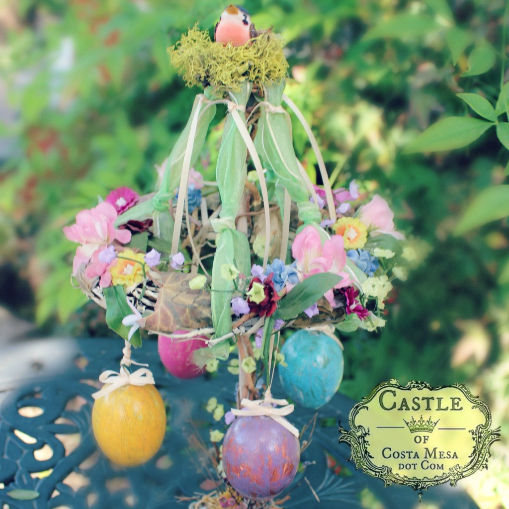 140408 Gisela's handmade Easter Egg floral carousel decoration full tree square cropped