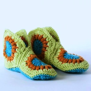 "Tuesday January 12, 2016. Crochet Granny Square Slippers for Beginners. Christine says ""Don't worry, they are not that difficult - work in squares and sewn together."" You can make them for an adult or a child. If you have a US 8 or H crochet hook, bring it along."
