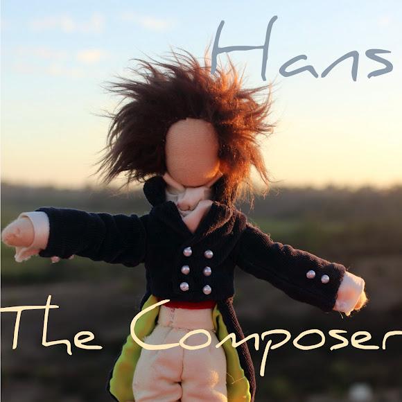 Hans the Composer doll. square. Handmade men dolls. Waldorf historical handstitched fairy tale dolls by CastleofCostaMesa.Com