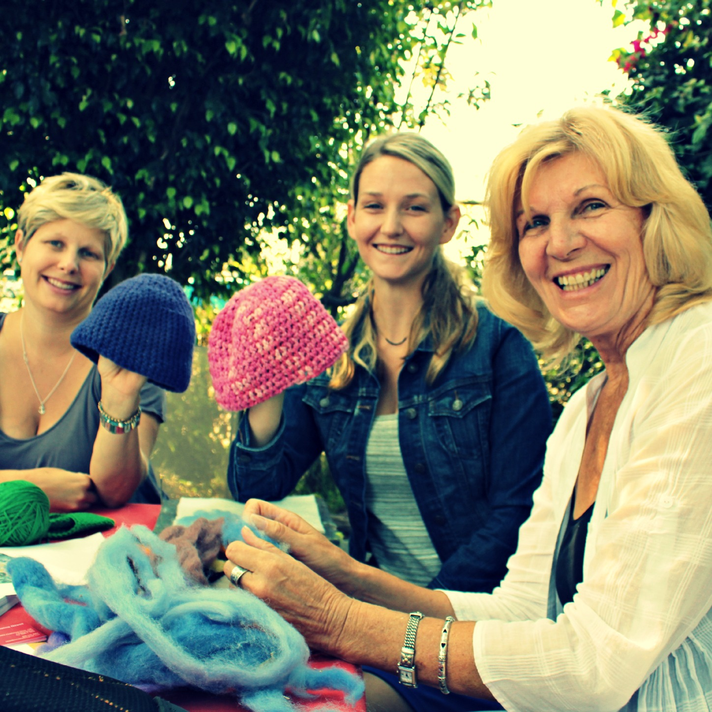 Kirsten, Kimmy, Christine. Crochet beanie hats. square. Wednesday Morning Craft Group. Waldorf School of Orange County. CastleofCostaMesa.Com