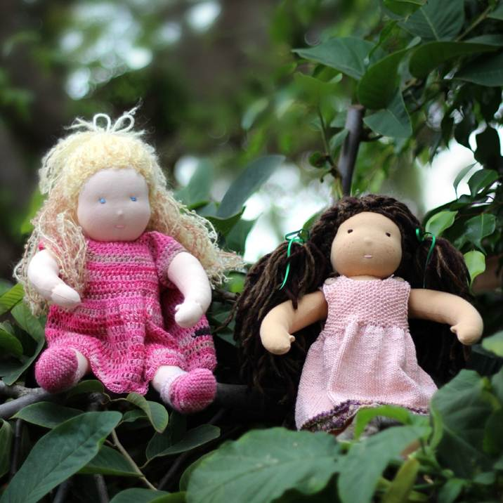 Square. 121107 Kimmy and Luka's 16 in Waldorf dolls on trees
