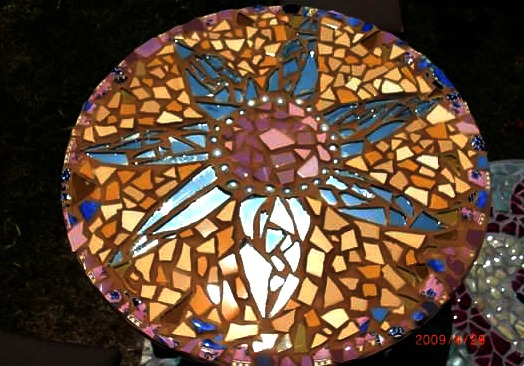 sunburst mosaic table with broken of mirrors. May Faire 2009 auction fundraiser. Wednesday Morning Craft group. Waldorf School of  Orange County. CastleofCostaMesa.Com