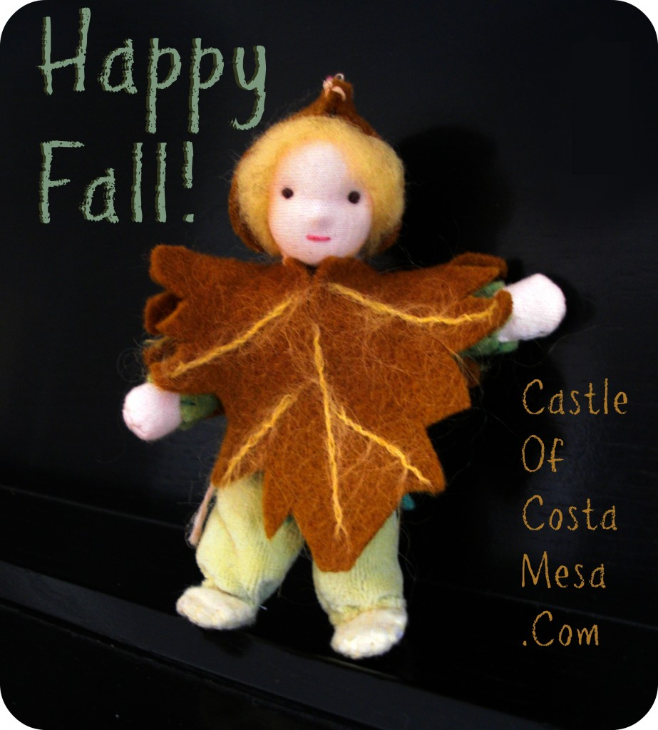 Maple Seed Pod Child Happy Fall Autumn Greeting. Handmade Waldorf Fall Season Nature Table Puppet Dolls.  Needle-felted handstitched miniature Waldorf doll with face and nose by CastleofCostaMesa.Com