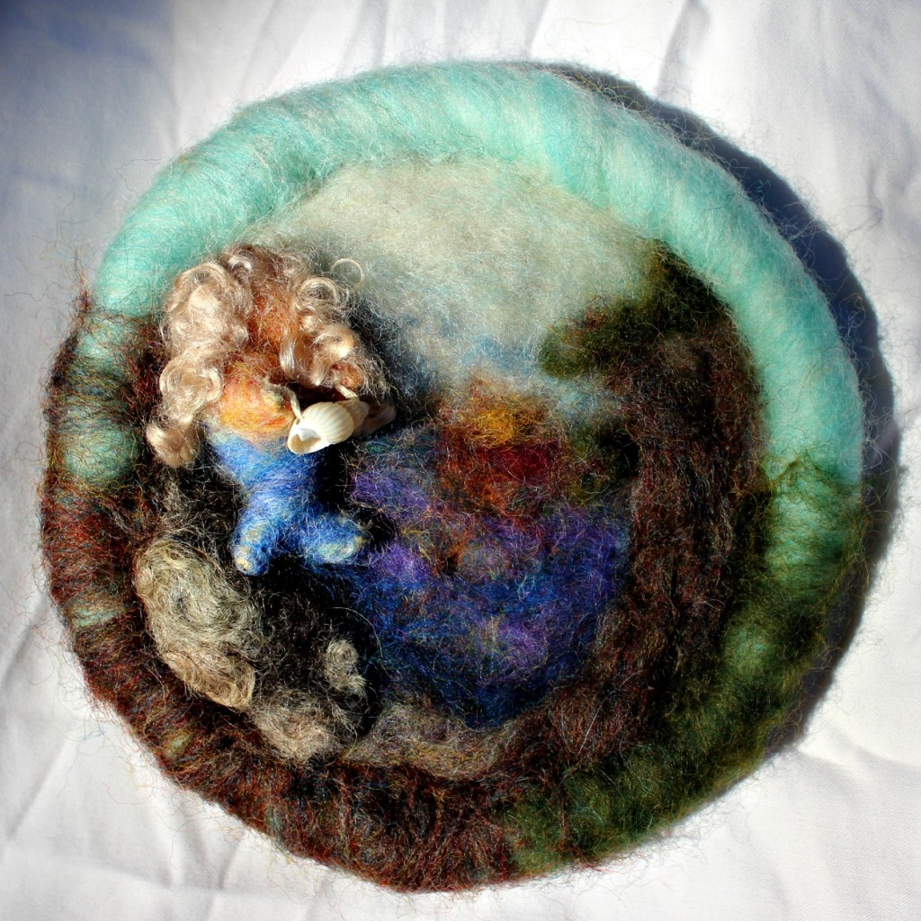 -felted mermaid disc completed. needle felted painting Christmas tree ...