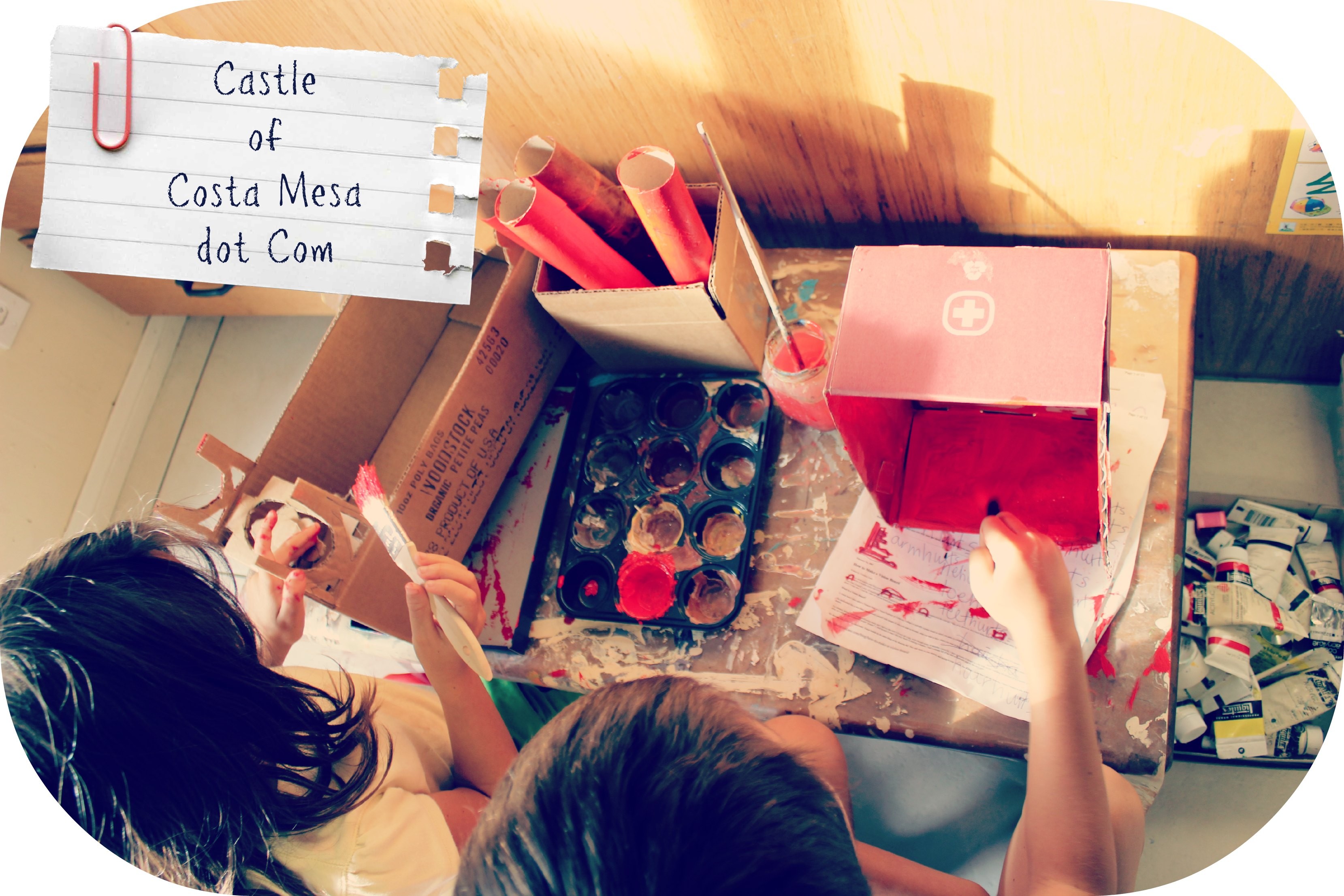 1211 Vivi and Nunu crafting cardboard into chinese grand mansion puppet show scene 3