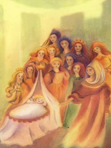 130117 Sleeping Beauty illustrated by Martina Müller. Blessings of infant