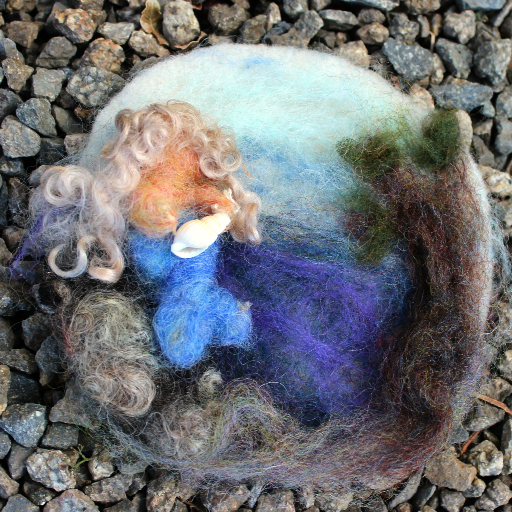 Giselas Needle Felted Painting Mermaid
