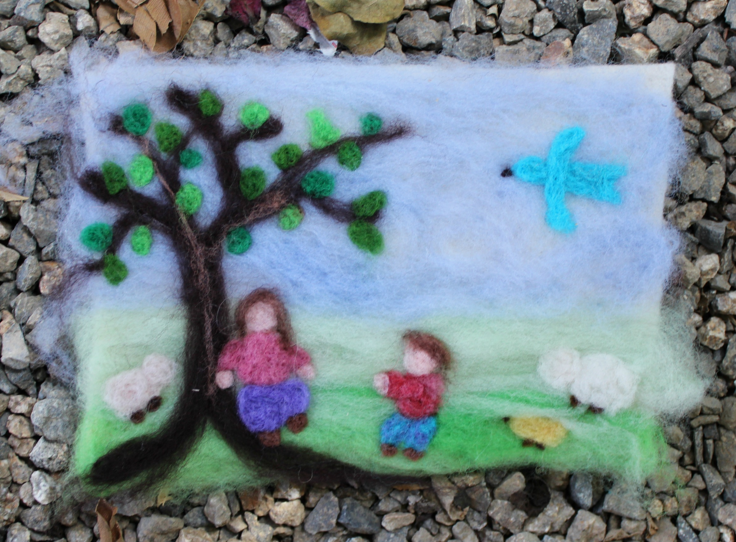 Glorias Needle Felted Scene Finished
