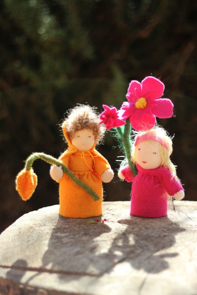 Judy and Jill's Orange and Pink flower fairy children. Wednesday Morning Craft Group. Waldorf Spring Season Nature Table top doll. Chinese Lantern Plant and Pink Daffodil dolls. Handmade miniature fantasy doll. Waldorf School of Orange County, Costa Mesa, California USA.  CastleofCostaMesa.Com