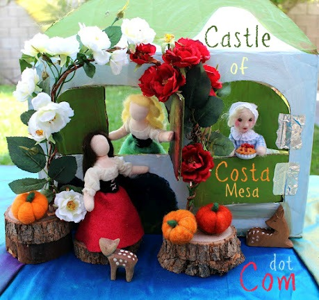 Once Upon a Time. Snow White, Rose Red and Old Widow in front of cottage.Post Pretty. Handmade Waldorf Fairy Tale puppet theater. CastleofCostaMesa.Com