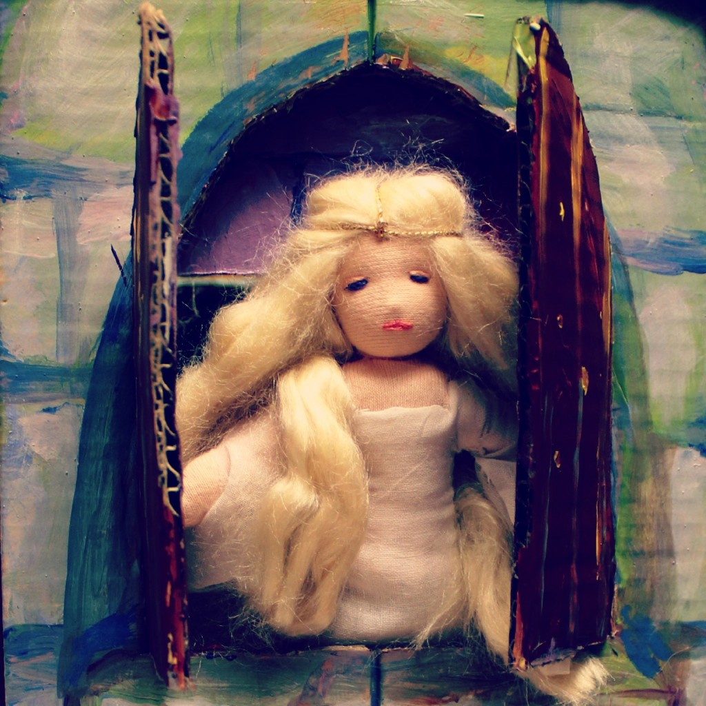 Sleeping Beauty at the window. Square.
