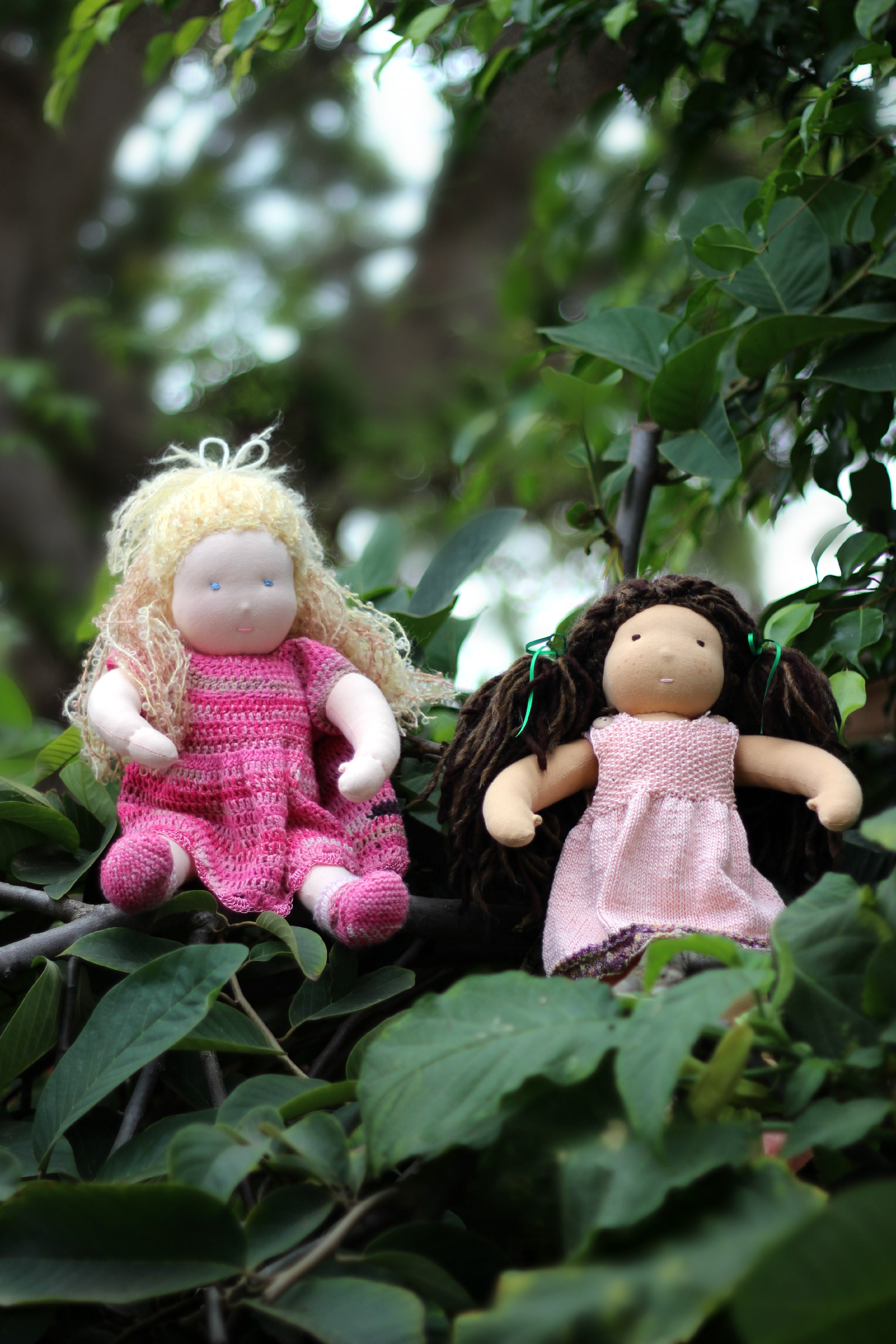 121107 Kimmy and Luka's 16 in Waldorf dolls on trees