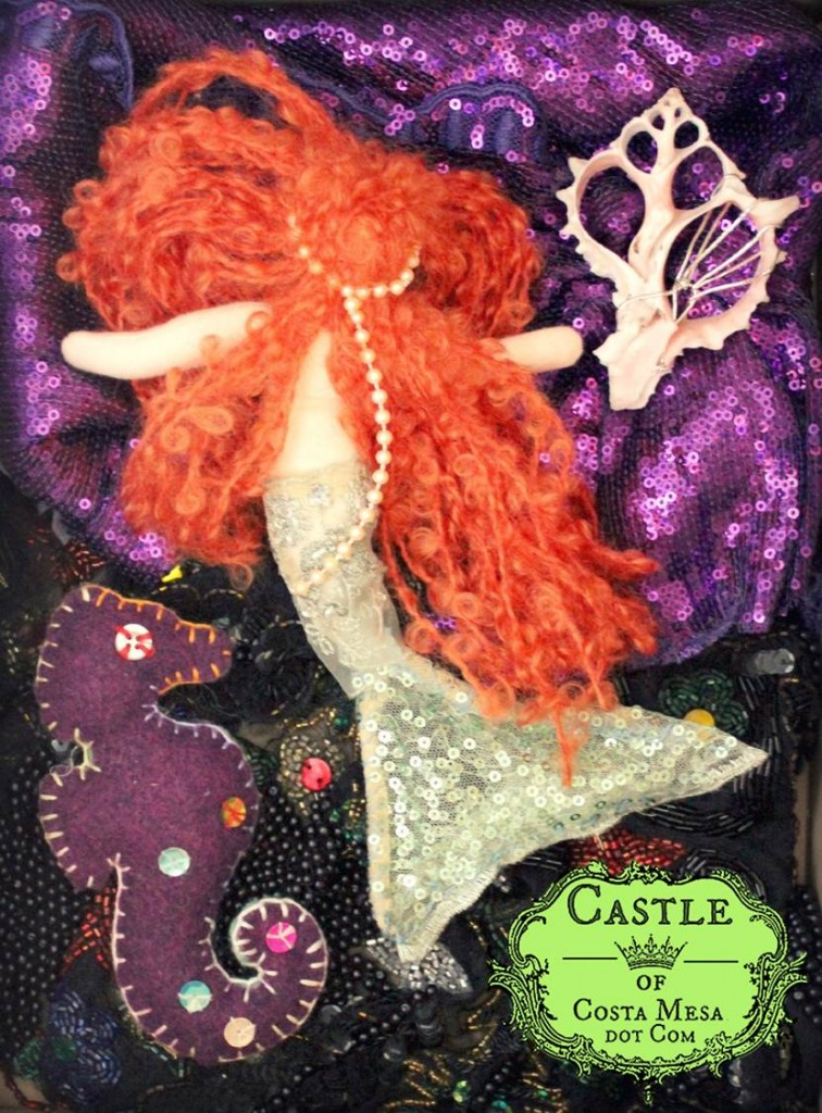 Handmade mermaid doll giveaway by CastleofCostaMesa.Com Fall 2012 back view poster