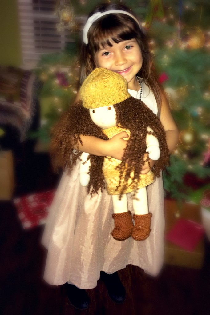14012 5 year old Joy in front of Christmas tree with new mommy handmade doll by Lisa