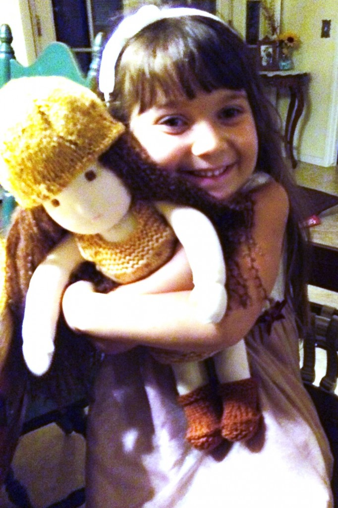 "140121 Lisa's 5 year old Joy so happy to receive 16"" Waldorf doll handmade by mommy."