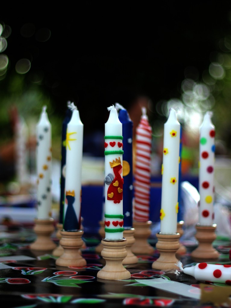 Decorated beeswax candles