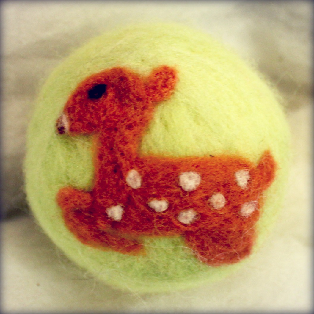 121205 Gloria's needle felted fawn on felted ball for Winter Festival Elves Workshop Room