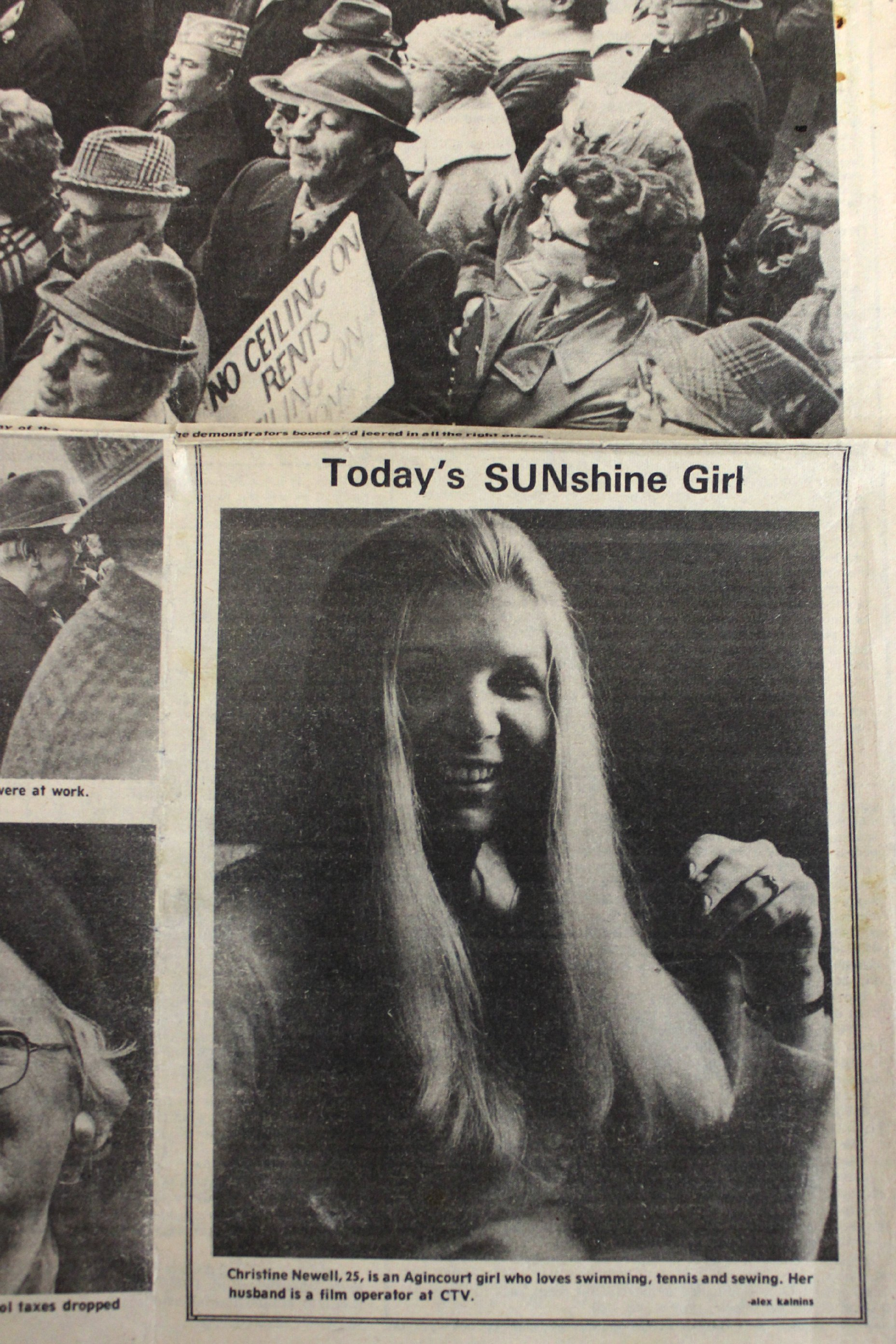 121212 Miss Sunshine Girl Christine Newell newspaper clipping
