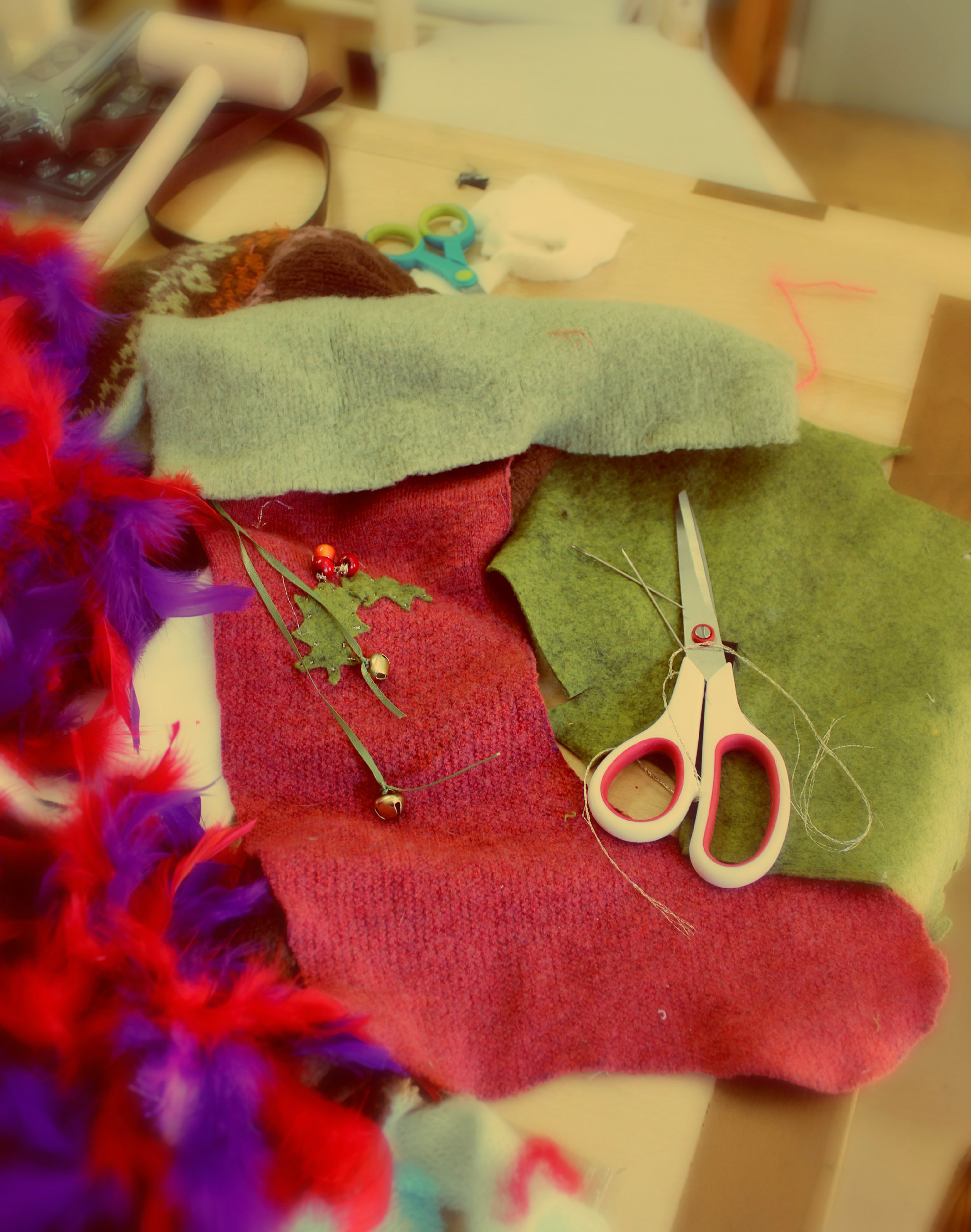 121219 Cathrina's recycled wool sweater Christmas Stocking in progress 2