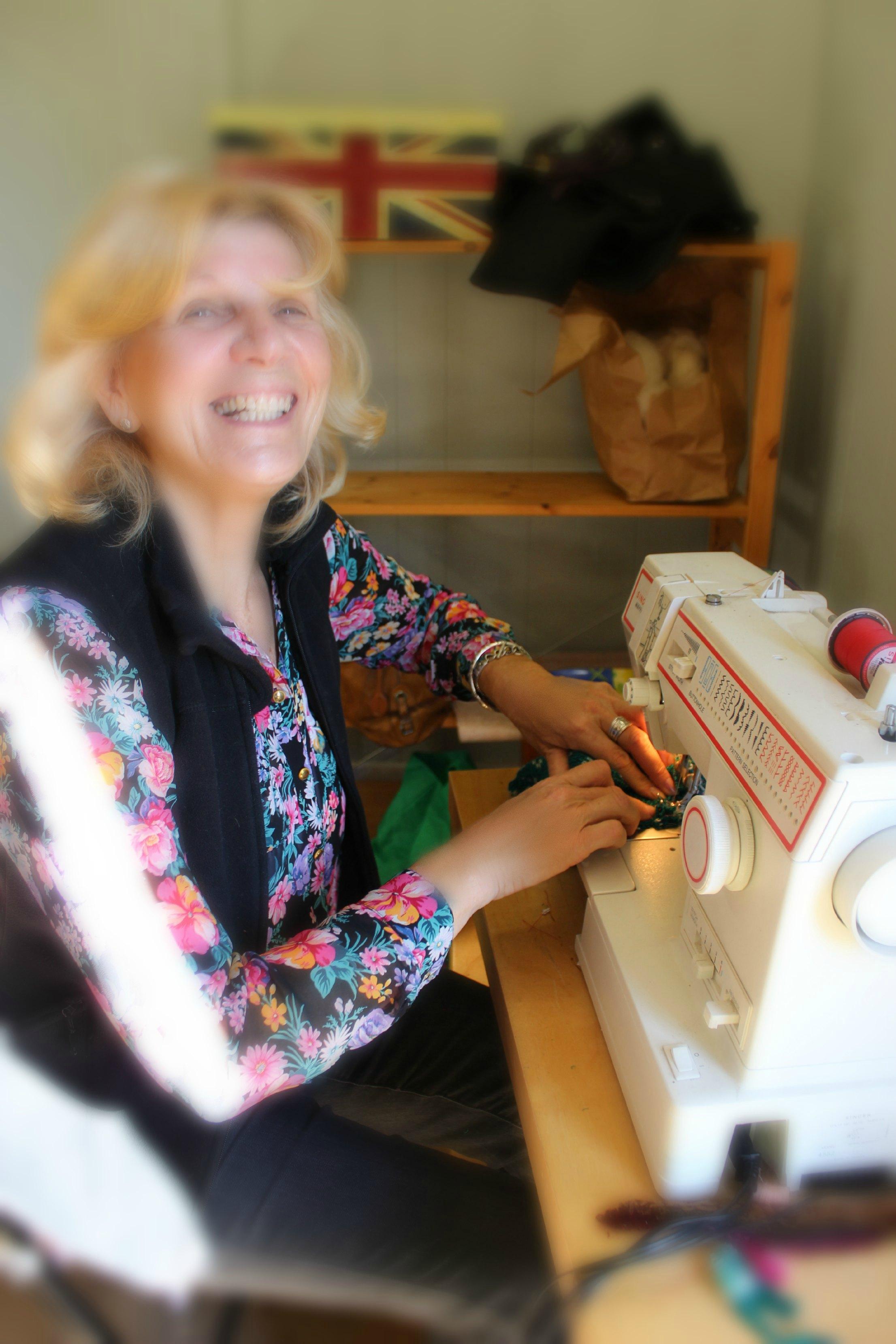 121219 Christine machine sewing Christmas stocking
