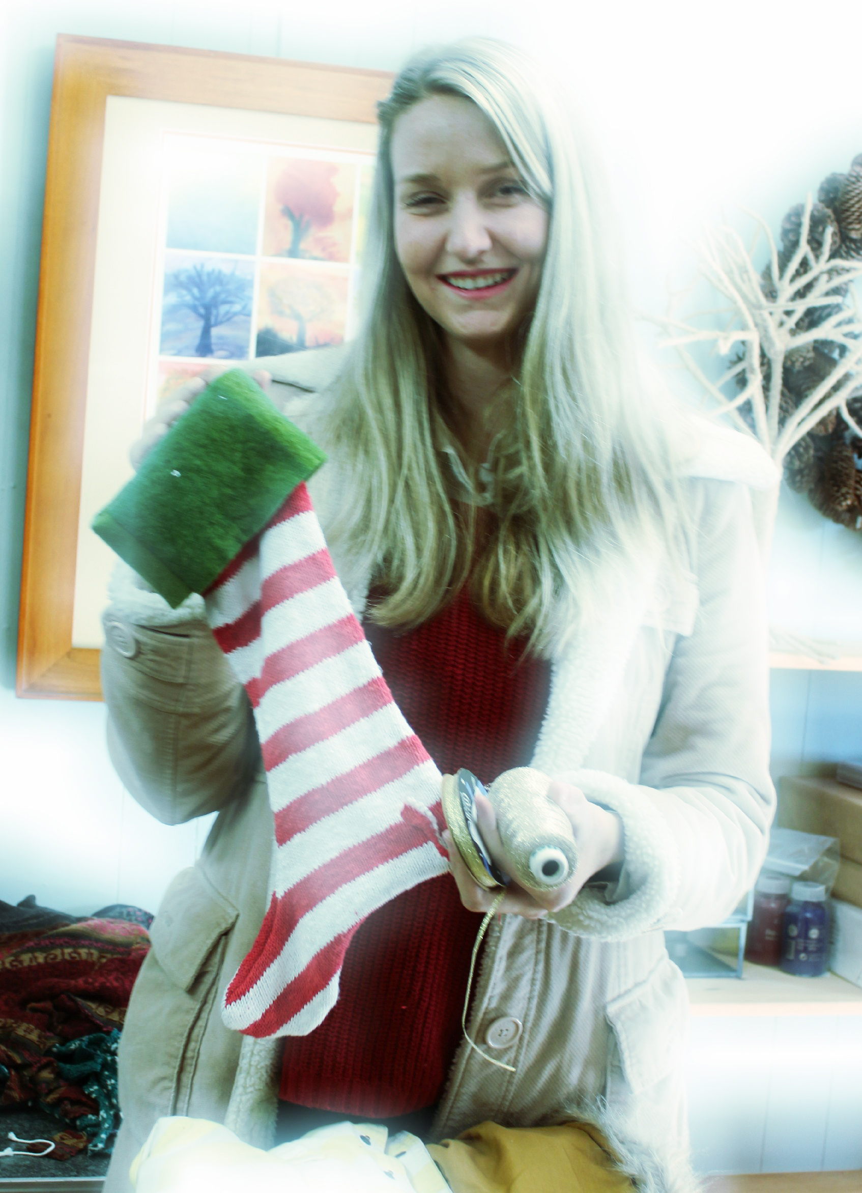 121219 Kimmy with stripped recycled sweater Christmas stocking 2