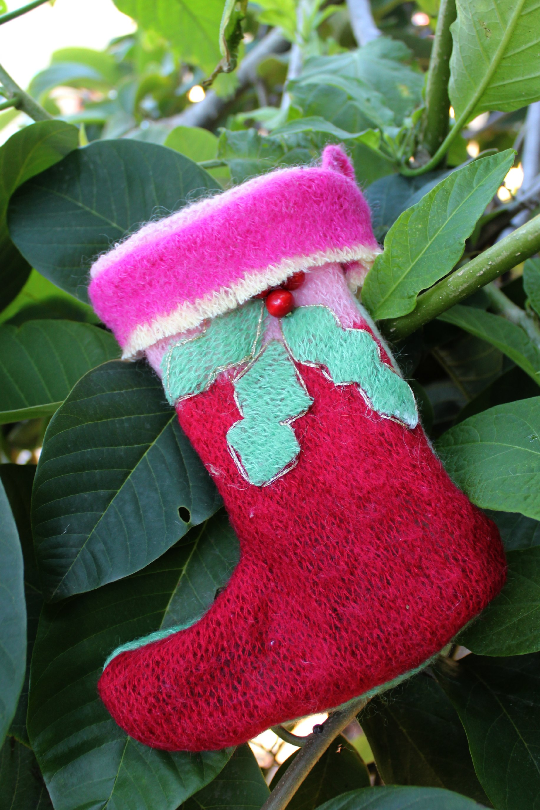 121219 Renuka's recycled wool sweater Christmas stocking back side view