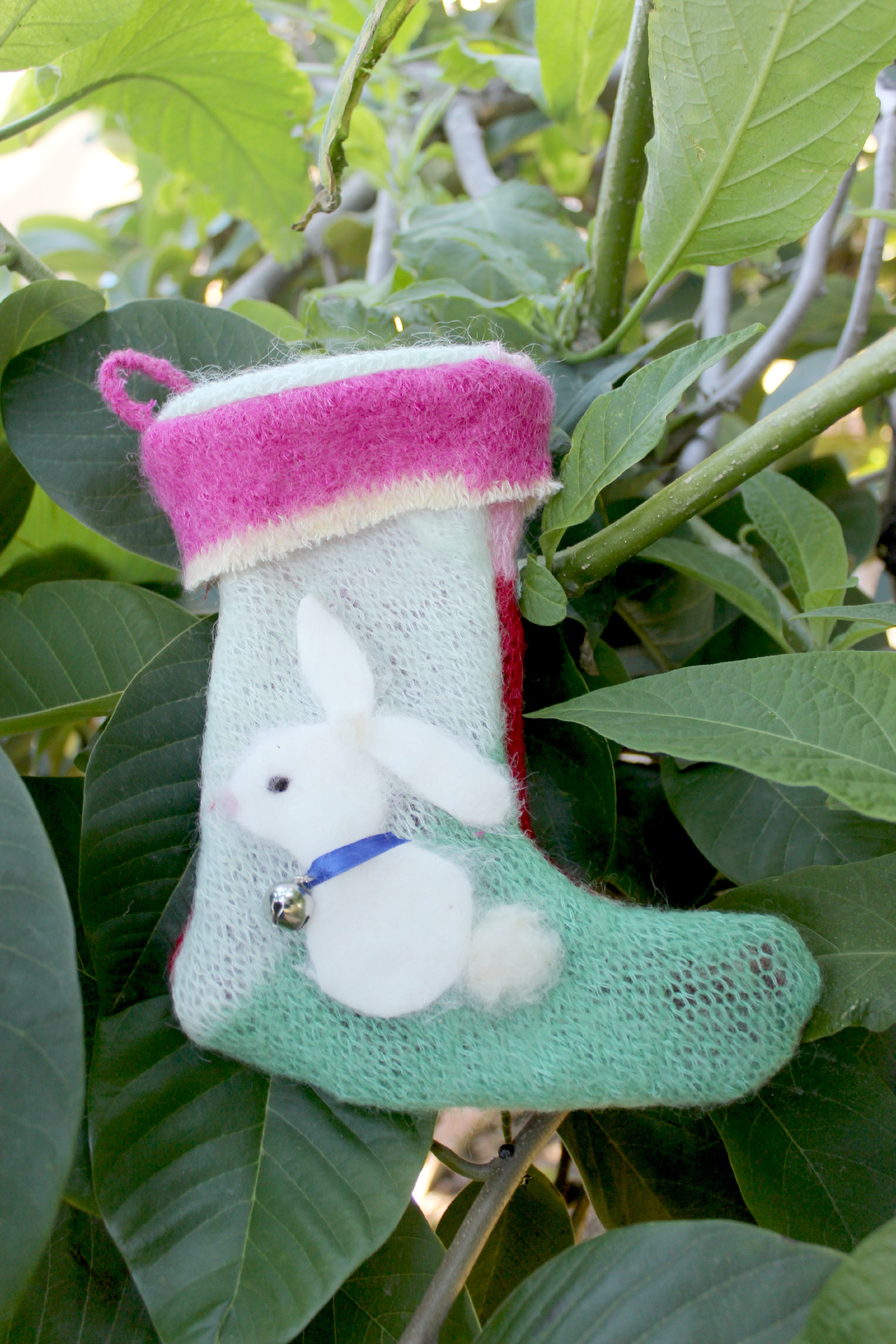 121219 Renuka's white bunny recycled boiled wool sweater Christmas stocking