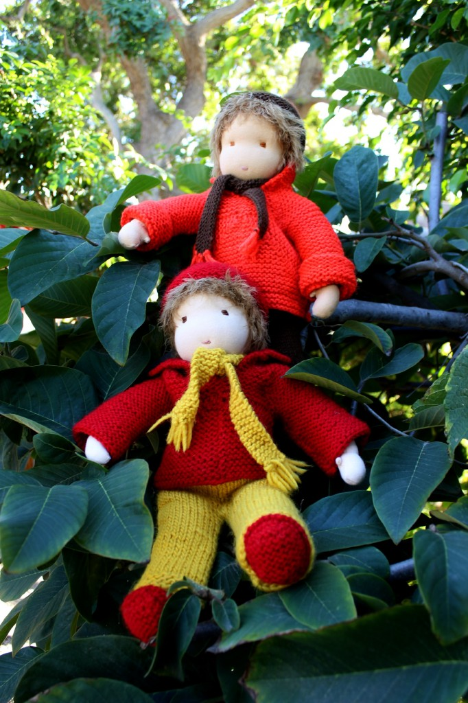 121219 Two 16 inch Waldorf cuddle boy dolls handmade by Christine Newell on cherimoya tree